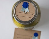 Mason jar gift labels - blue ribbon - 12 pc - regular or wide mouth