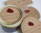 Mason jar gift labels - strawberry - 6pc - regular or wide-mouth