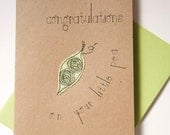 Congratulations... on your little pea - greeting card to welcome baby