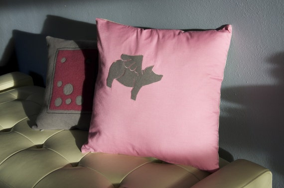 SALE  -  SOO-EE.  Here pig-pig.  Flying pig pillow cover