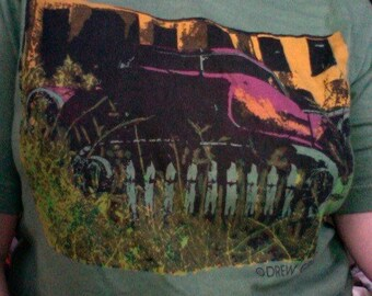 Chrome Car B Unisex Small T-shirt-- Special Overdye in Deep Sage Green, 4-Color Print