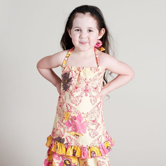 Girls Raspberry Pink Daisy Butterfly Ruffle Halter Top and Pant Set Size  6T