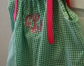 Personalized Pillowcase Dress-- Green Gingham