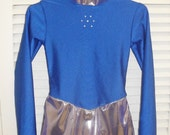 Long sleeved Figure skating ice skating dress - Royal blue and iced purple