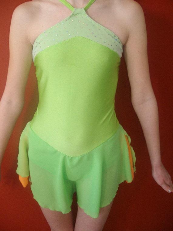 Tinkerbell inspired Figure Skating dress Lime green halter style