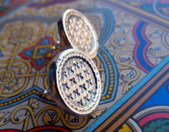 Sterling silver studs with net texture