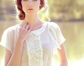 Vintage Inspired Silk Chiffon Ruffle Blouse White - Daisy
