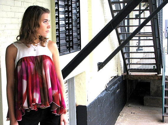 Summer Breezy Flowing Chiffon Top Multi Color Ivory - Waterfall Plum