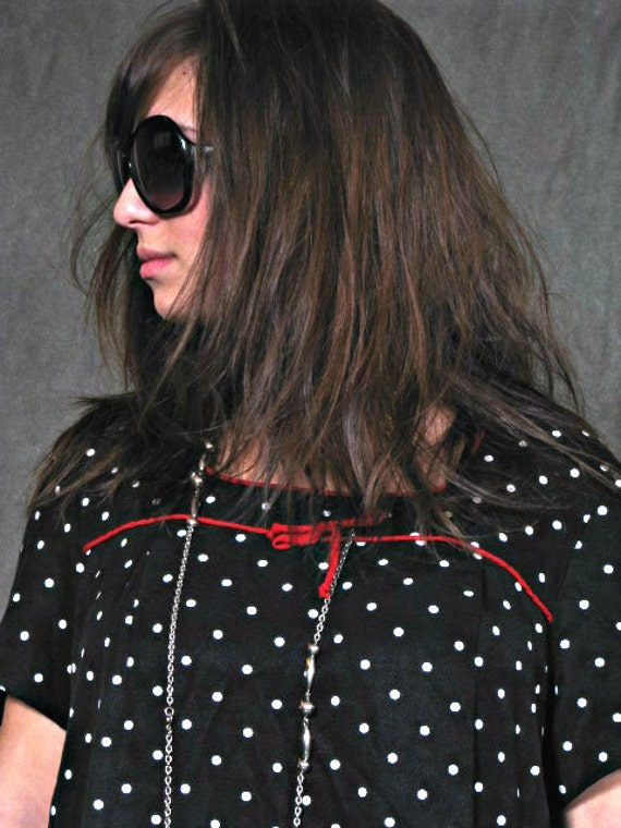VINTAGE 1980's Polka Dot Black And White Red Bow Tie Mini Dress