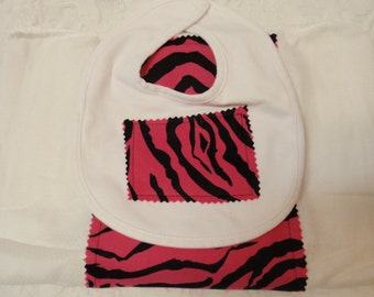 Hot Pink Zebra Burp Cloth & Bib Set
