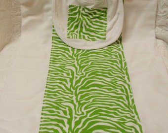 Lime Green Zebra Burp Cloth & Bib Set
