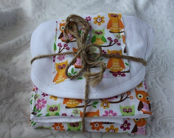 Bright Owls Burp Cloth & Bib Set