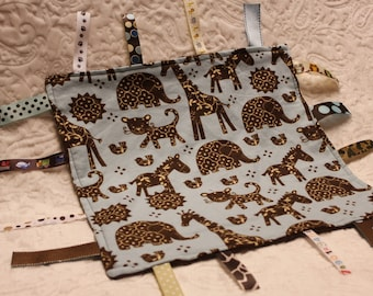 Zoo Animals in Brown and Blue Blankie with Ribbons