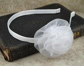 Tulle Rosette Metal Headband - White