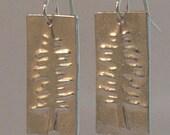 Silver Embossed Tree Earrings, Sterling Silver Shepherd Hooks