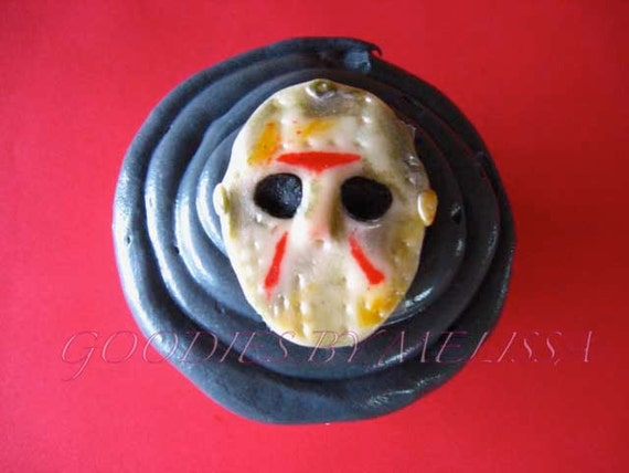 12 fondant hand painted Jason masks (EDIBLE)