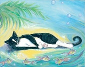 Art Print- tropical- sea- palm tree- tuxedo cat- sleeping cat with fish 12x18