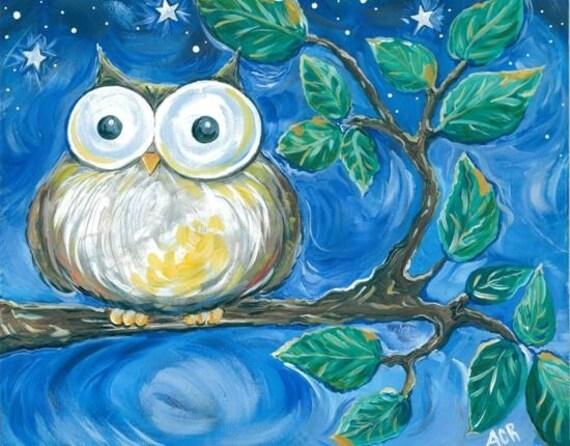 Owl Art Print- owl on a tree branch12x18