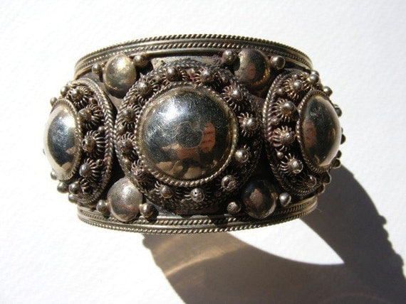 Vintage Siam Sterling Silver Cuff Bracelet. Bohemian heavily decorated handcrafted. Ornate details, studs, balls. Gypsy, hippie, Boho.