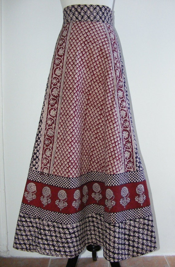 Vintage 1960 S India Cotton Ethnic Print Boho Long By