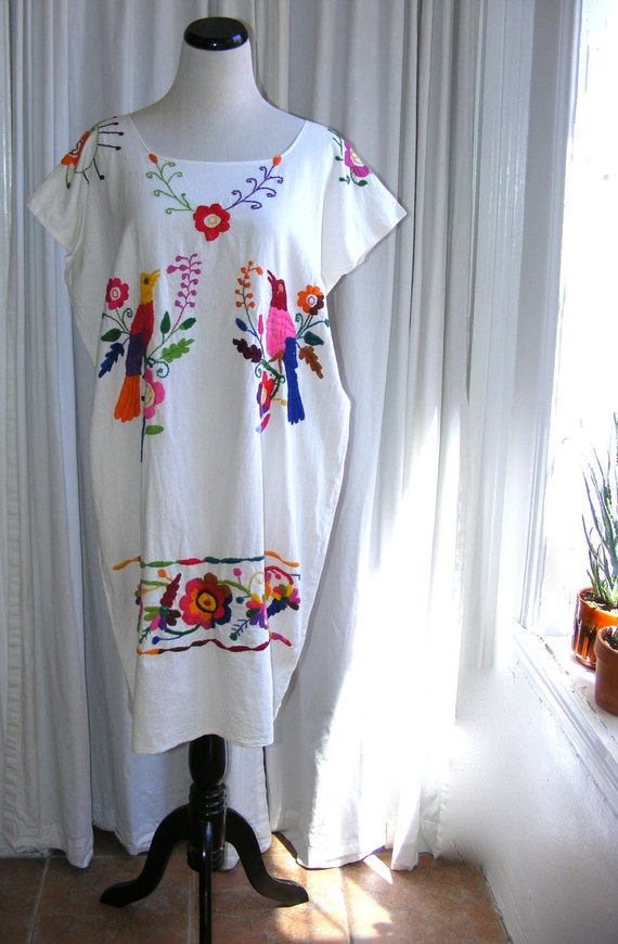 Mexican Embroidered Dress. White cotton vintage tunic, bright, multicolored rainbow embroidery, birds and flowers.