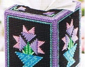 QUILTS & FLOWERS Tissue Box Cover - Plastic Canvas PATTERN
