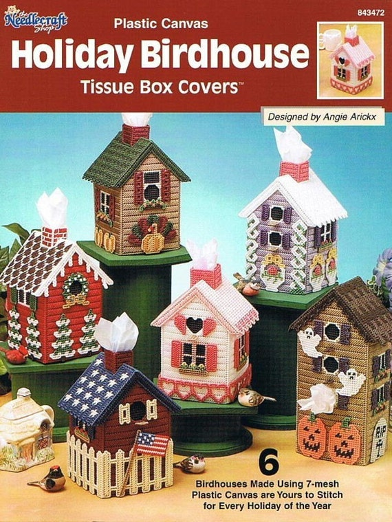 Holiday Birdhouse Tissue Box Covers Plastic Canvas Pattern