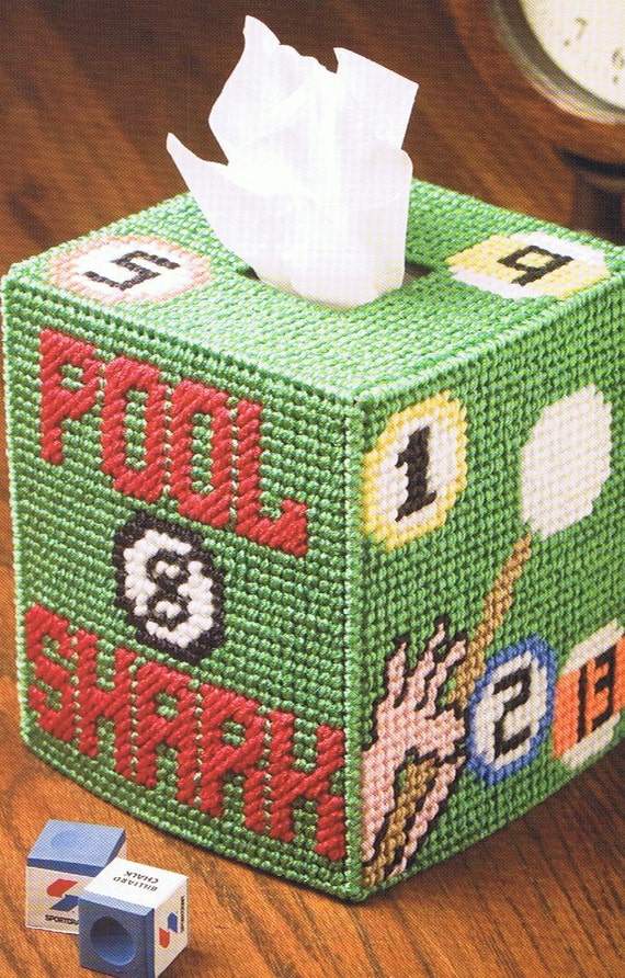 POOL SHARK and STARFISH Tissue Topper Box Cover - Plastic Canvas Patterns