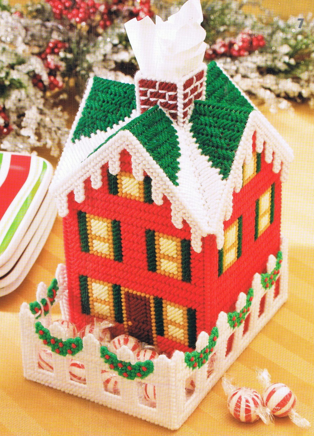 Christmas Cottage Plastic Canvas Tissue Topper Box Cover