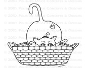 Cat in a Basket Digital Image - Moxie the Feline in a Basket - Digital Stamp - Digi Stamp - Digitized Hand Drawn Illustration