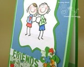 Friend Card - Thinking of You - Girlfriends or Friends Linking Arms - Green, Blue, White and Red - Whimsical - Envelope Included - Handmade