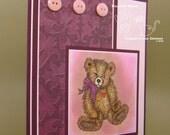 I Love You Bear Card - Textured - Teddy Bear Image - Pink and Burgundy / Purple - Coordinating Envelope - Handmade