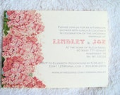 Set of Ten (12) Pink Hydrangea Floral Bridal/Wedding Shower Invitations with enveloeps from anna.michelle Cards