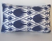 Decorative Designer Blue Ikat Lumbar Pillow Cover - 12x20 inches