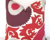 Designer Pillow Cover - Fahri - Indoor/Outdoor Decorative Pillow Cover - Red - Claret - Pink - Plum - Purple - Grey