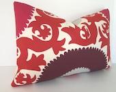 Designer Pillow Cover - Suzani - Fahri - Claret- Indoor/Outdoor Decorative Pillow Cover - Red - Claret - Pink - Purple - Plum - Grey