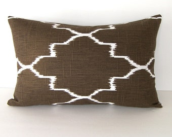 Decorative Designer Lumbar Ikat Pillow Cover in Coffee Brown and White - 12x18 or 12x20 inches