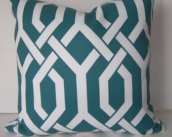 Decorative Pillow Cover - P Kaufmann - Indoor - Outdoor - On Both Sides - Teal - White - 18x18 inches
