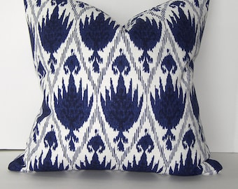 Lacefield Casablanca/Sahara Indigo Blue and White Ikat Pillow Cover/Both Sides