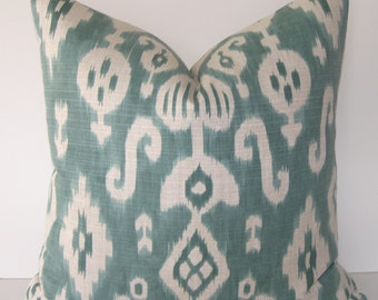 BOTH SIDES - Decorative Designer Ikat Pillow Cover - Aqua - Teal - Ivory