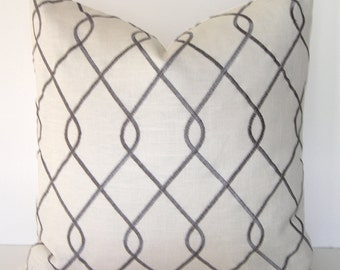 Both Sides - Decorative Pillow Cover in Ivory with Silver Grey - Embroidery