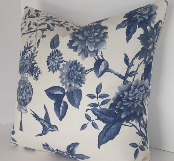 Decorative Pillow Cover-Waverly-Porcelain Blue and by Loubella1