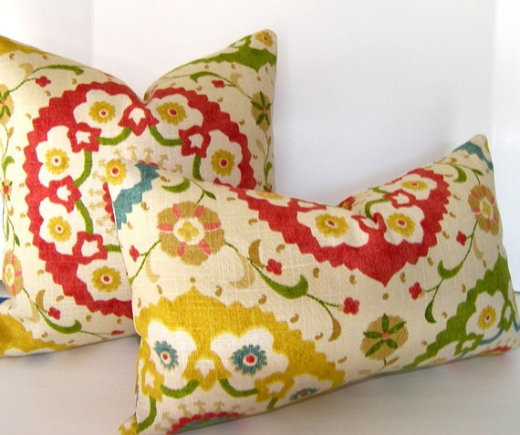 Decorative Pillow Cover - Suzani - 12x20 inches - Blue -  Red  - Green - Yellow - Taupe