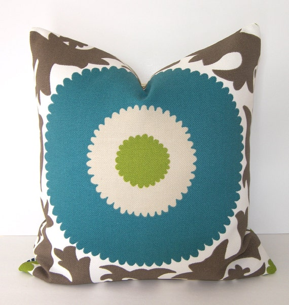 P Kaufmann Fahri Indoor / Outdoor -  Suzani Pillow Cover - 18x18 or 20x20 inches - Teal / Lime / Taupe / Sand and Ivory