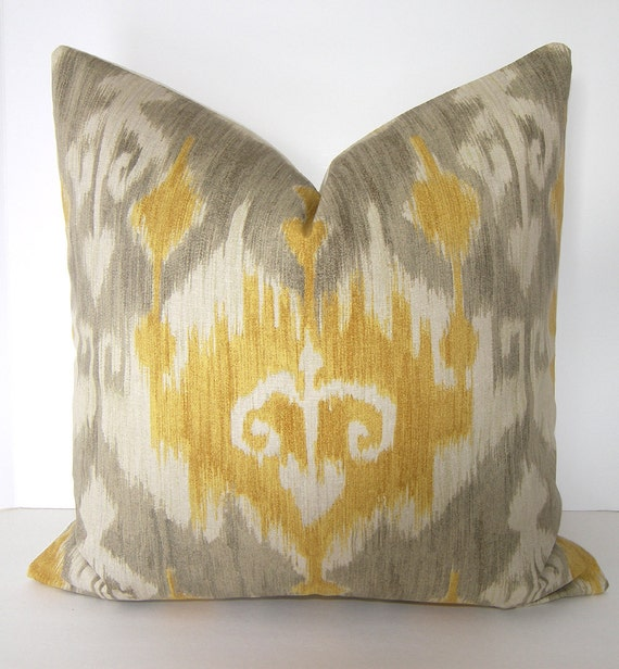 Ikat Decorative Pillow Cover 24x24 inches Grey by Loubella1