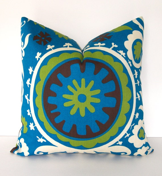 NEW -  Decorative Designer Suzani Indoor / Outdoor Pillow Cover - 18x18 inches - Lime - Brown - Teal Blue and Ivory