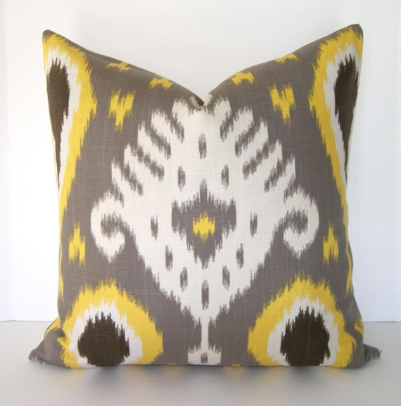 ON SALE -  Decorative Designer Pillow Cover - 18x18 - 20x20 or 22x22 inches - taupe- grey - dark chocolate brown - cream and saffron yellow