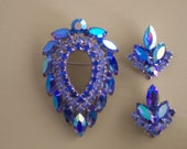 Sarah Coventry Rhinestone Brooch & Clips