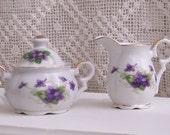 Norcrest Sweet Violets Creamer and Sugar