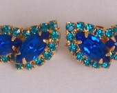 Reserve for Monte - DO NOT purchase - Rhinestone Clips, Teal & Royal Blue stones
